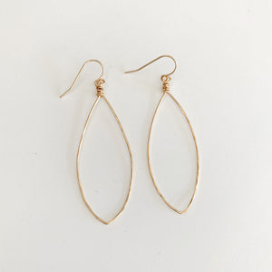 Erin Hammered Marque Hoop Earrings