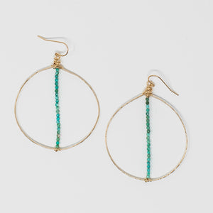 Anna Circle Hammered Hoops with Vertical Turquoise Bar