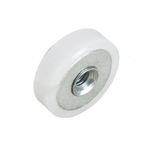"Shower Door 3/4"" Nylon Ball Bearing Flat Edge Roller With Threaded Hex Hub"