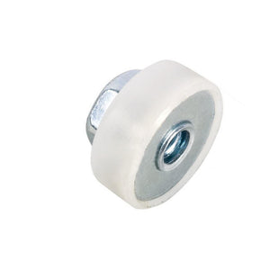 "Shower Door 5/8"" Nylon Ball Bearing Flat Edge Roller With Threaded Hex Hub"