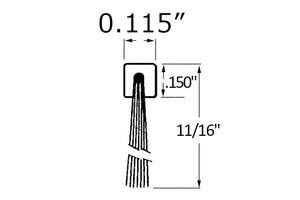 Fringe Weatherseal c/w Extruded Bead - 11/16'' Pile Height