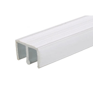 "Showcase Upper Track for Sliding Glass or Wood Door Panels - For 1/4"" Thick Material - White"