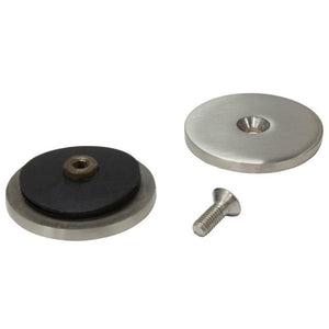 Round In-line Mall-style Glass Clip - Brushed Stainless