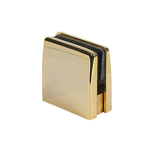 Glass Square Top Clamps - Polished Brass