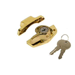 "Keyed Window Security Sash Lock c/w 2"" Screw Holes Brass"