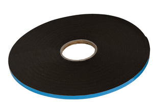 Adhesive, Double Sided Foam 1/16'' x 3/8'' Glazing Tape - Black - 75' Roll