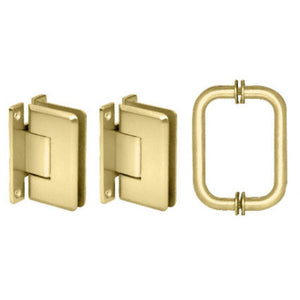 "Shower Door 6"" Cologne Pull and Hinge Set Brass"