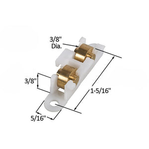 Sliding Window Roller with Dual 3//8 Brass Wheels for House of Aluminum Windows