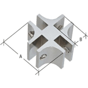 "4-Way 90 Degree Standard Connector for 1/2"" Glass Chrome"