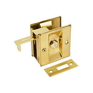 Pocket Door Brass Privacy Lock