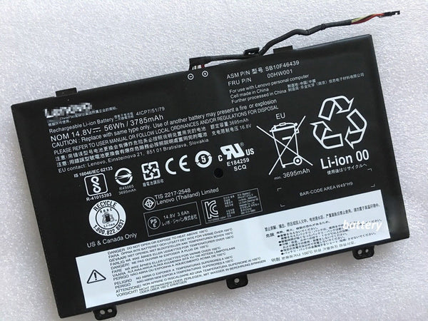 Lenovo ThinkPad S3 Yoga 14 SB10F46439 00HW000 00HW001 Battery