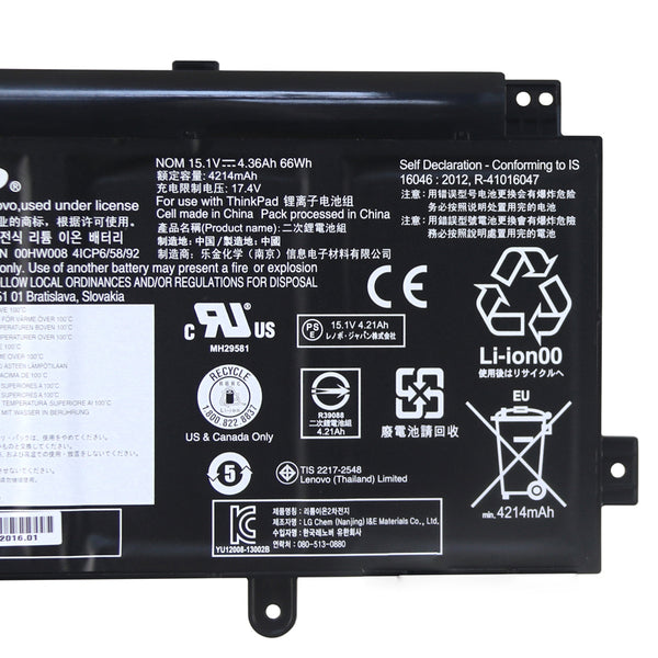 Lenovo 00HW008 00HW009 00HW014 ThinkPad Yoga 15 Battery