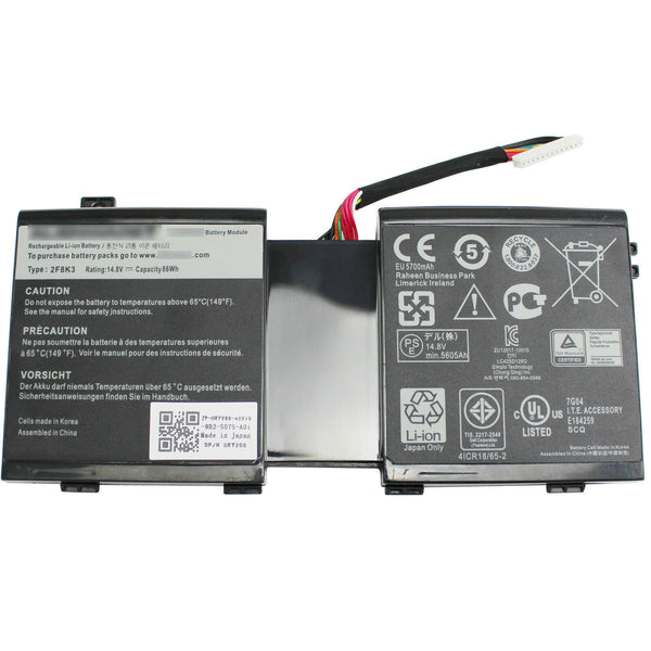 2F8K3 KJ2PX Battery for Dell Alienware 17 18 18x M17X R5 M18X