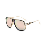 Side view of pink, square aviator sunglasses, with mirror lenses