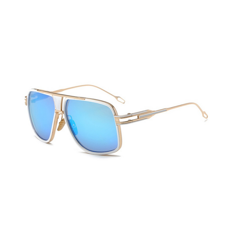 Side view of white, square aviator sunglasses, with mirror blue lenses