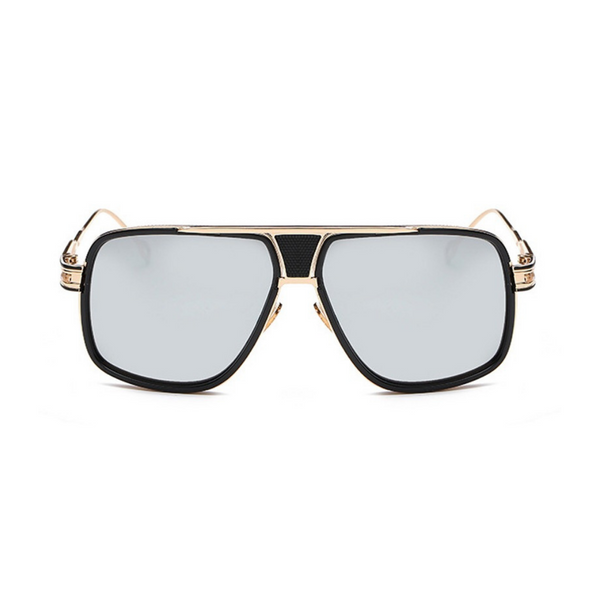 Front view of silver, square aviator sunglasses, with mirror lenses.
