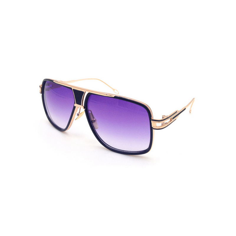 Side view of purple, square aviator sunglasses, with purple tinted lenses
