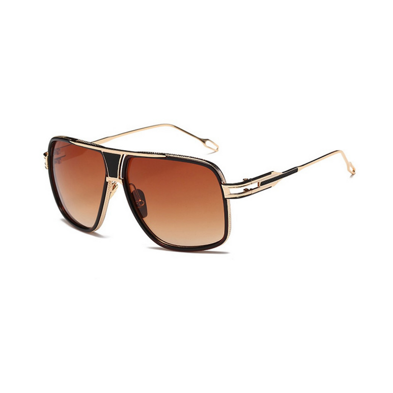 Side view of brown, square aviator sunglasses, with brown tinted lenses