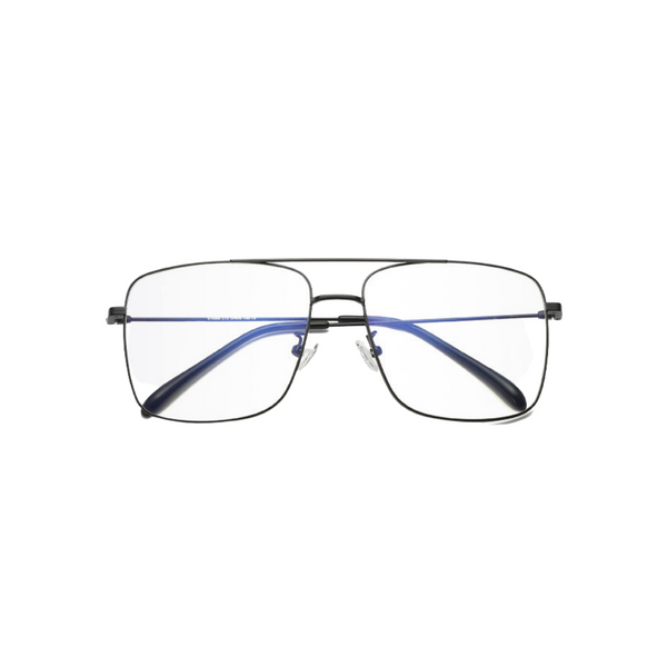 Front view of black, square shaped, blue light blocking glasses