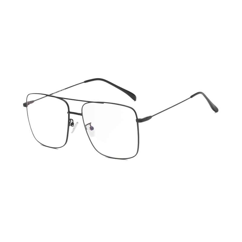 Side view of black, square shaped, blue light blocking glasses