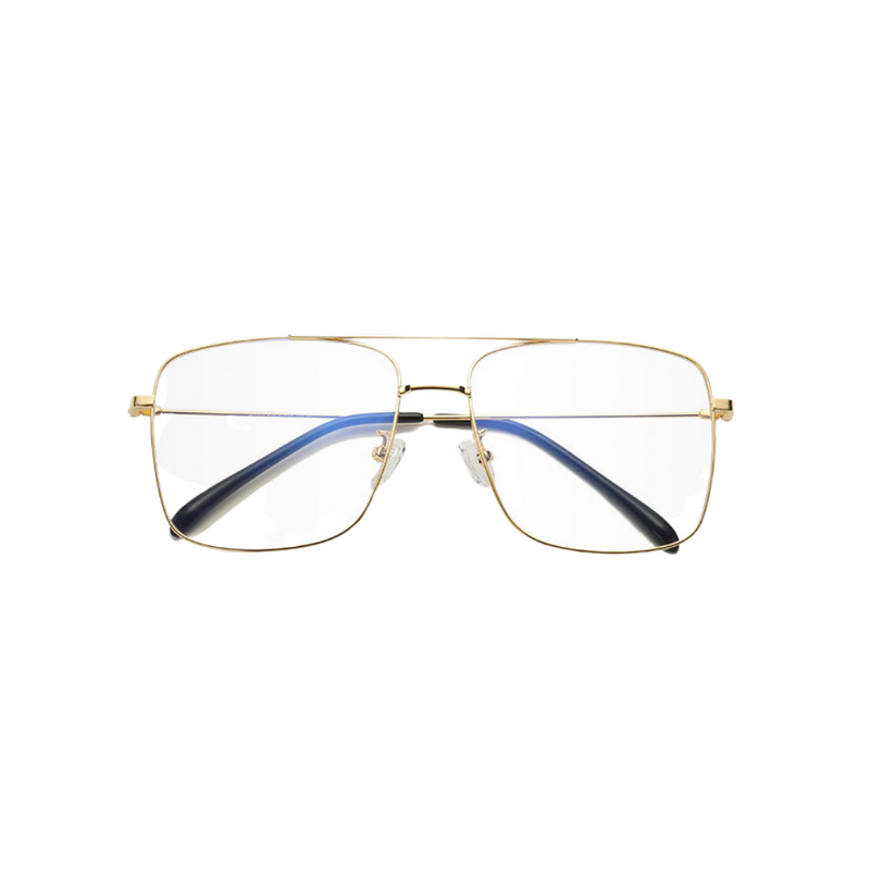 Front view of gold, square shaped, blue light blocking glasses