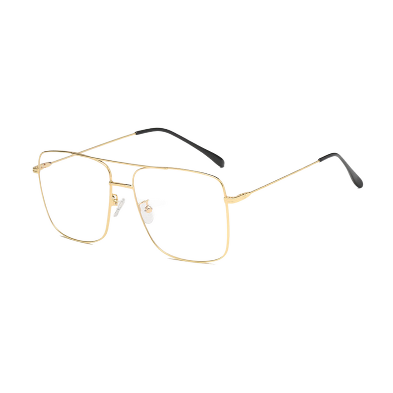 Side view of gold, square shaped, blue light blocking glasses