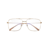 Front view of rose gold, square shaped, blue light blocking glasses