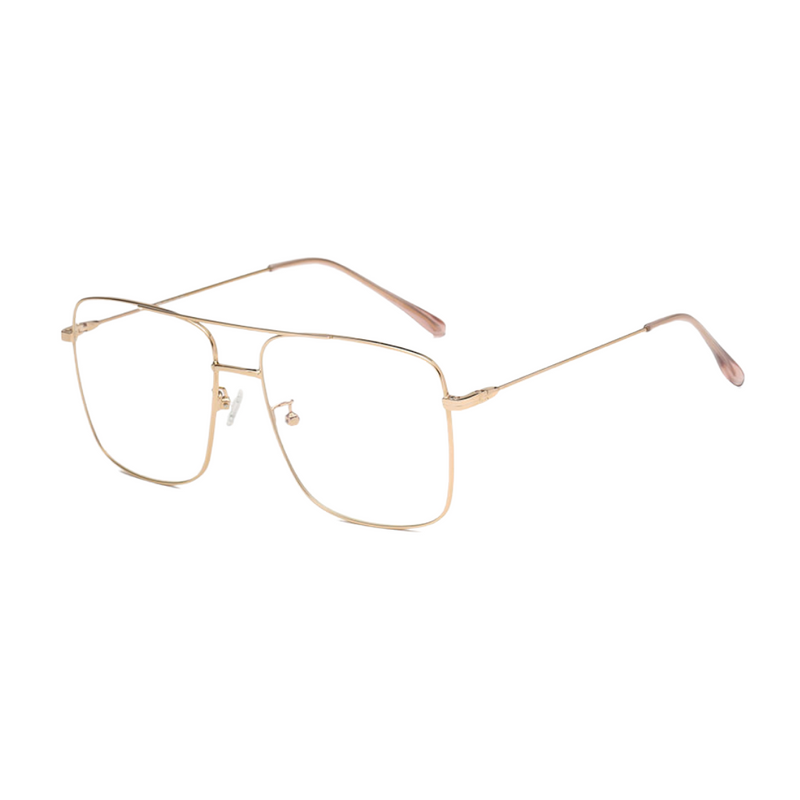 Side view of rose gold, square shaped, blue light blocking glasses
