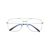 Front view of silver, square shaped, blue light blocking glasses