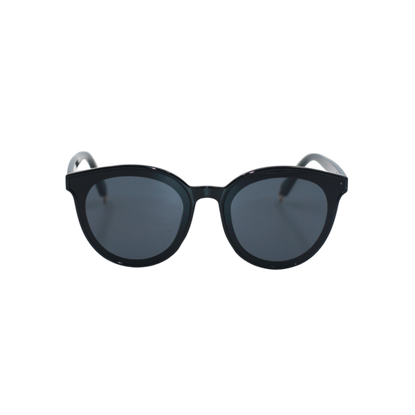 Front view of black, cat eye sunglasses, with dark lenses.
