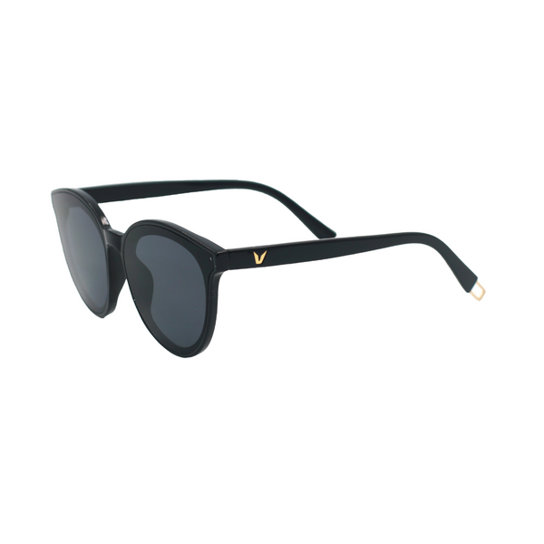 Side view of black, cat eye sunglasses, with dark lenses.