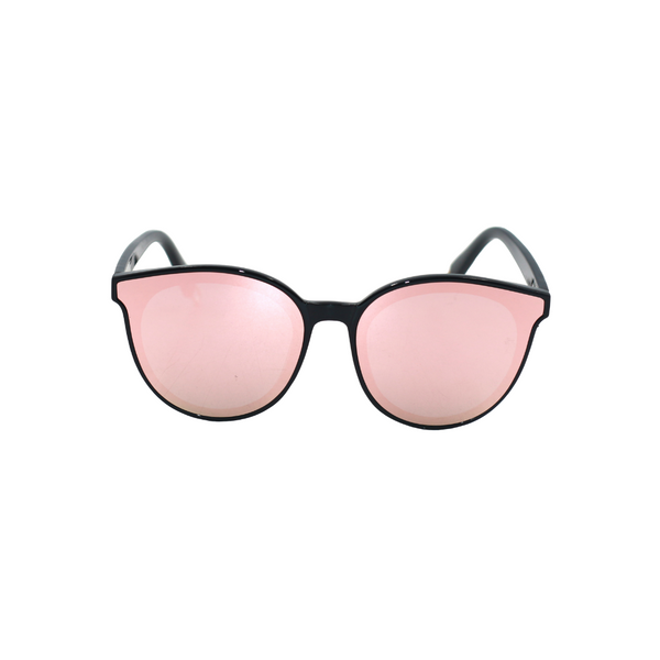 Front view of pink, cat eye sunglasses, with mirror lenses.