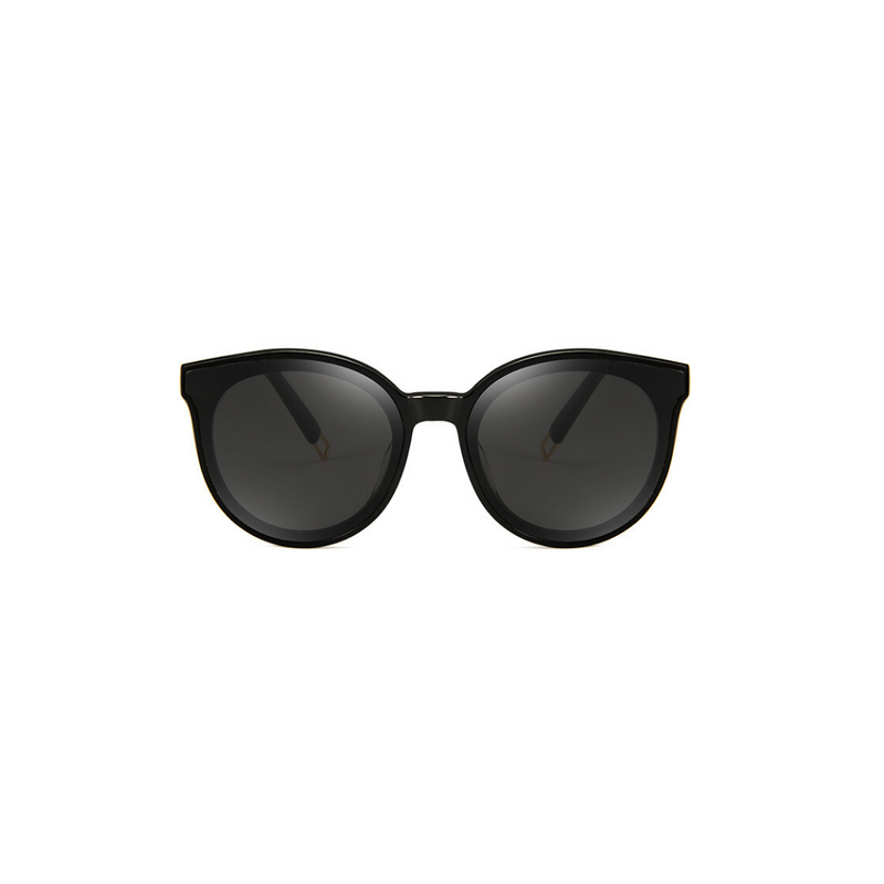 Front view of black, cat eye children's sunglasses, with dark lenses.