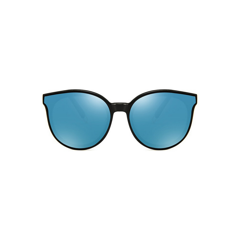 Front view of blue, cat eye children's sunglasses, with mirror lenses.