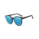 Side view of blue, cat eye children's sunglasses, with mirror lenses.