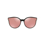Front view of pink, cat eye children's sunglasses, with mirror lenses.
