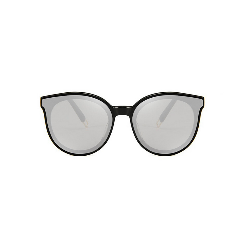 Front view of silver, cat eye children's sunglasses, with mirror lenses.