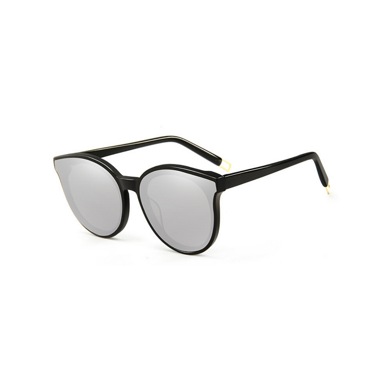 Side view of silver, cat eye children's sunglasses, with mirror lenses.