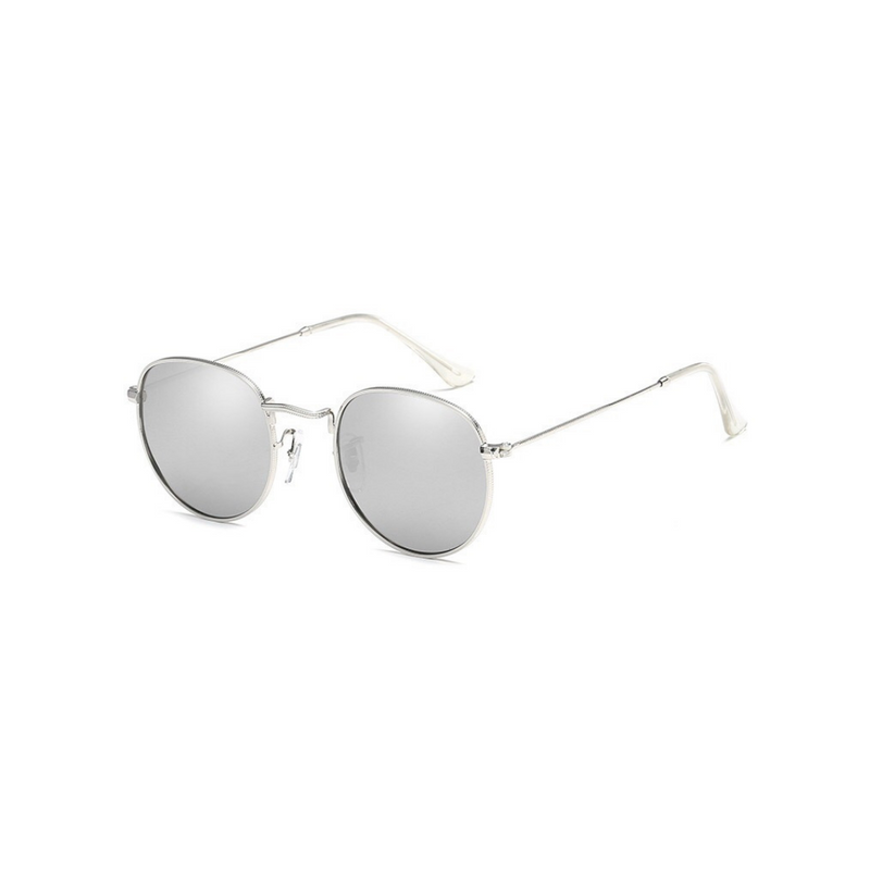 Side view of silver, small circle sunglasses, with mirror lenses.