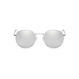 Front view of silver, small circle sunglasses, with mirror lenses.
