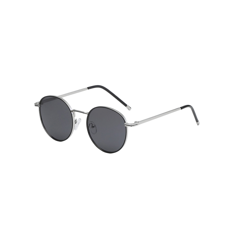 Side view of black and silver, circle sunglasses, with dark lenses.