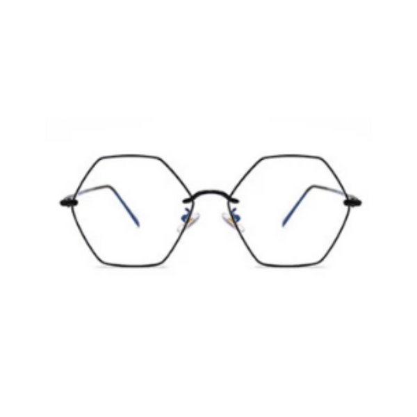 Front view of black, hexagon blue light blocking glasses.