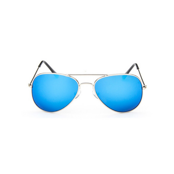 Front view of blue, children's aviator sunglasses, with mirror lenses.