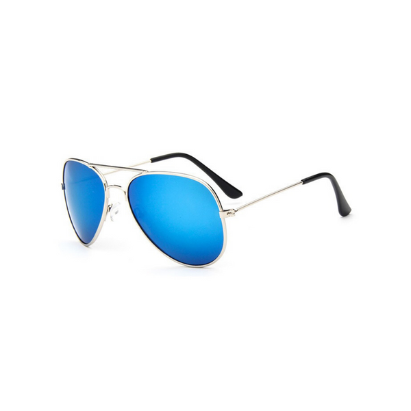 Side view of blue, children's aviator sunglasses, with mirror lenses.