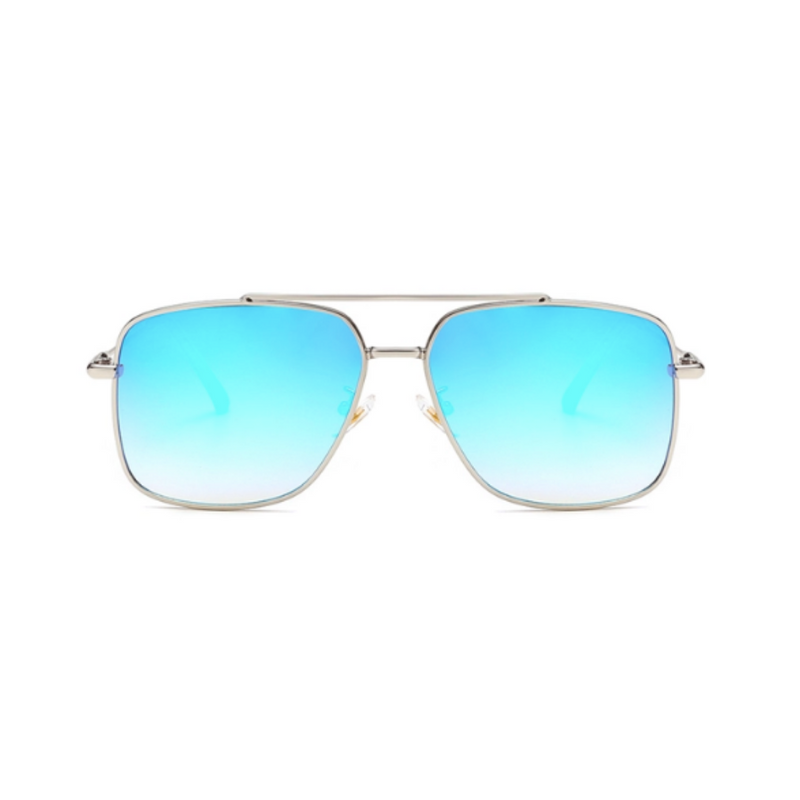 Front view of blue, square sunglasses, with mirror lenses.