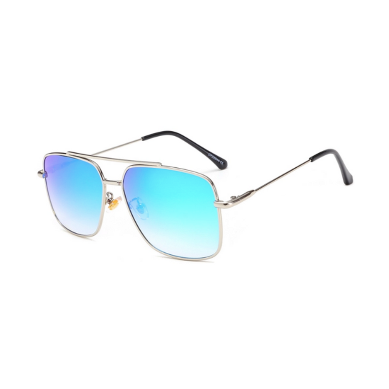 Side view of blue, square sunglasses, with mirror lenses.