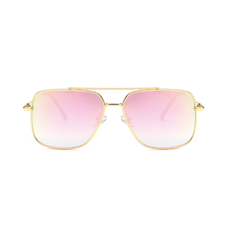 Front view of pink, square sunglasses, with mirror lenses.