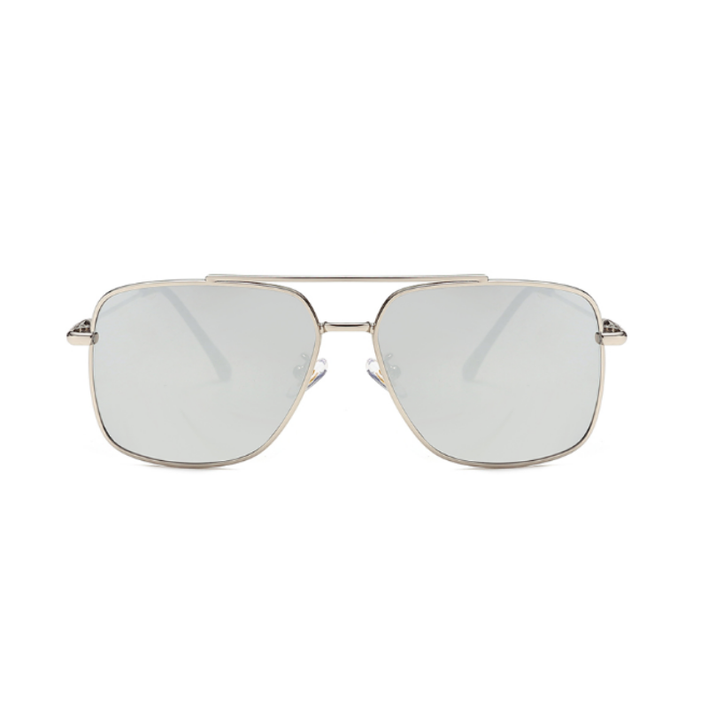 Front view of silver, square sunglasses, with mirror lenses.