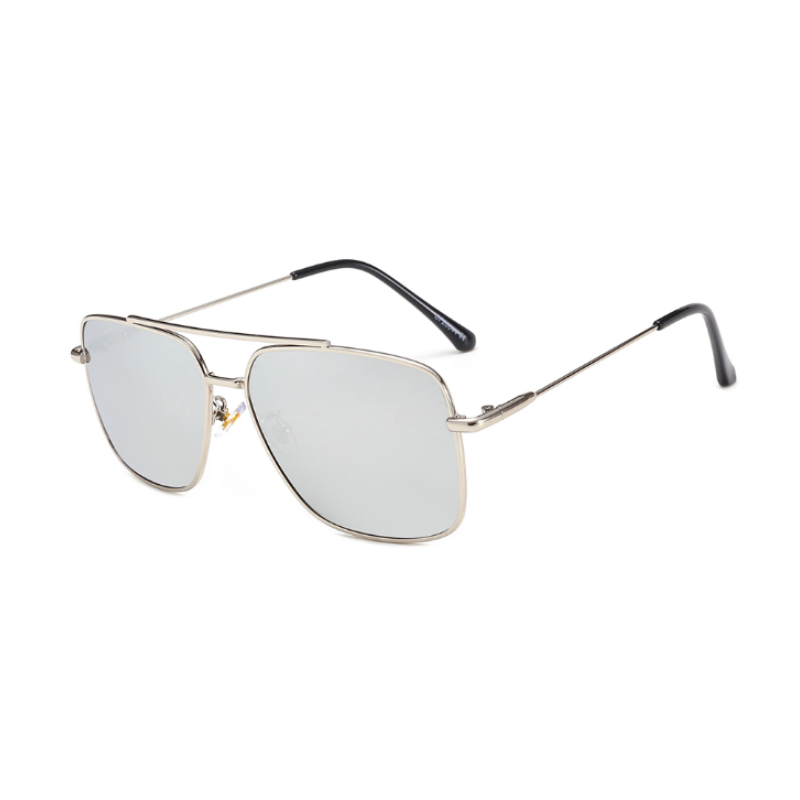 Side view of silver, square sunglasses, with mirror lenses.