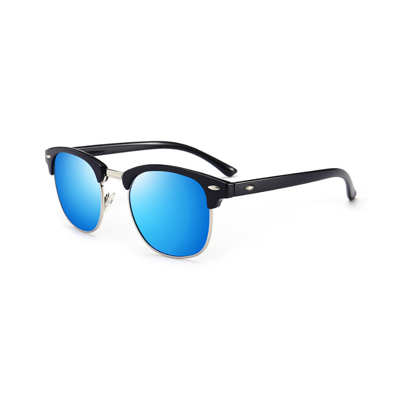 Side view of blue, retro sunglasses, with mirror lenses